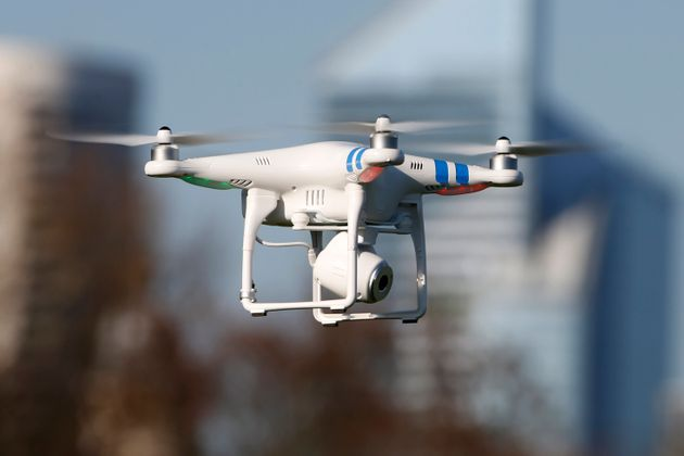 A 'Phantom 2' drone by DJI company flies during the 4th Intergalactic Meeting of Phantom's Pilots on...