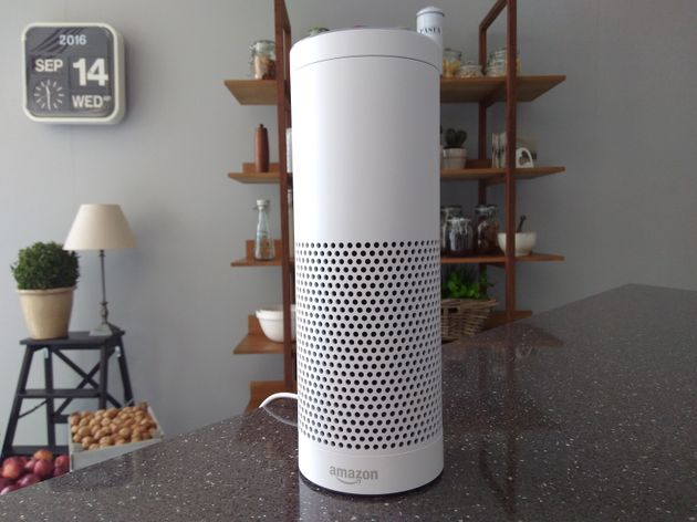 The Amazon Echo, a voice-controlled virtual assistant, is seen at its product launch for Britain and...