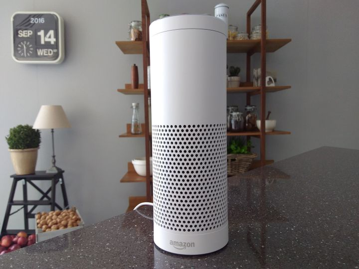 The Amazon Echo, a voice-controlled virtual assistant, is seen at its product launch for Britain and Germany in London, Britain, September 14, 2016.