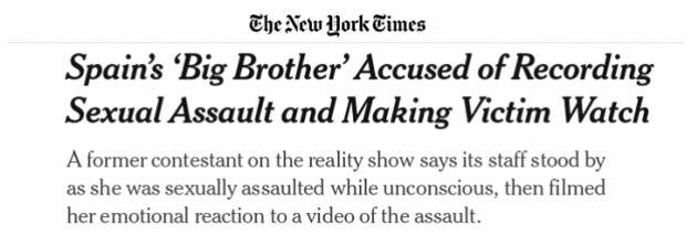 Captura titular de The New York Times sobre el