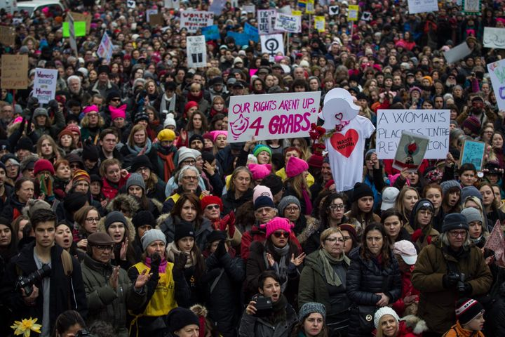 Demonstrators attend the Women's March to protest President Donald Trump, in Montreal on January 21, 2017. Thousands of people gathered in support ofwomen's rightsas thousandsare doing the same inWashington, D.C. after theinaugurationof Donald Trump.