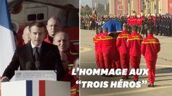 L'émouvant hommage de Macron aux secouristes morts lors des
