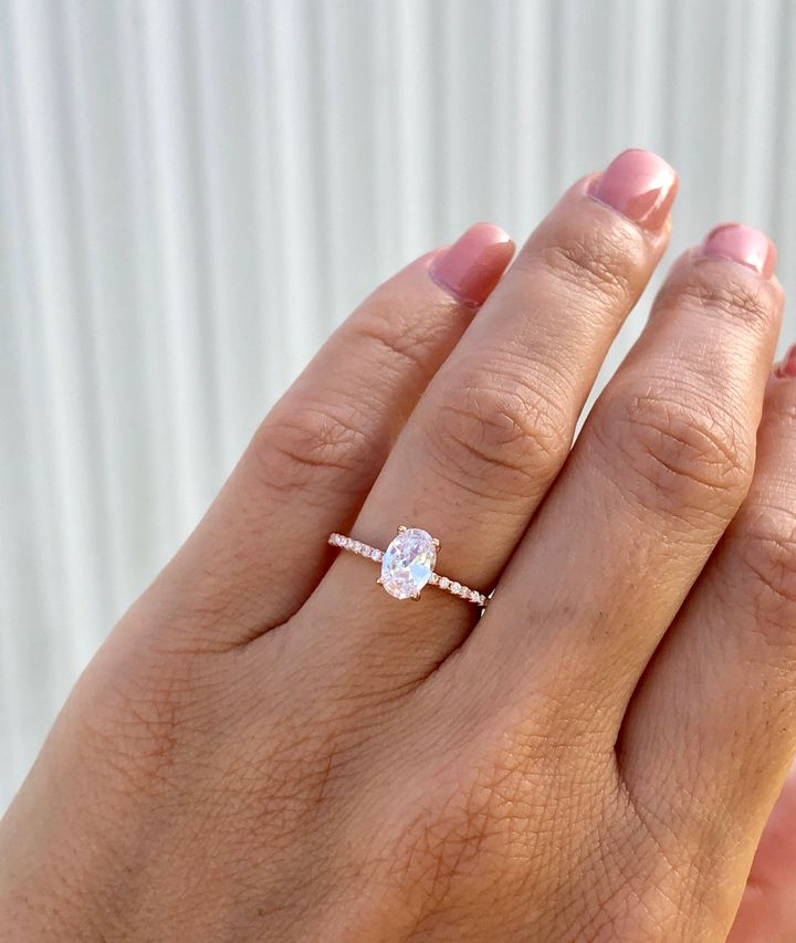 Oval Rose Gold Engagement Ring, Etsy