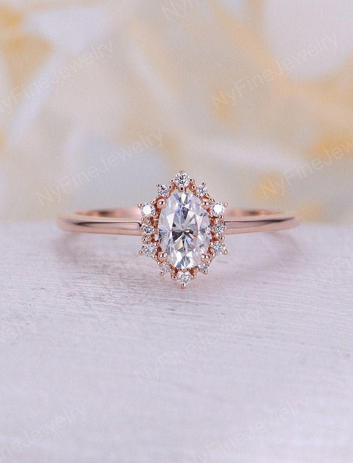 Vintage Oval Moissanite Engagement Ring, Etsy