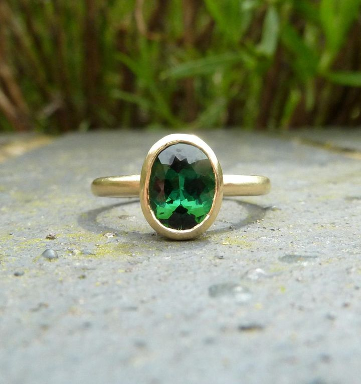 Green Tourmaline Recycled Gold Ring, Etsy