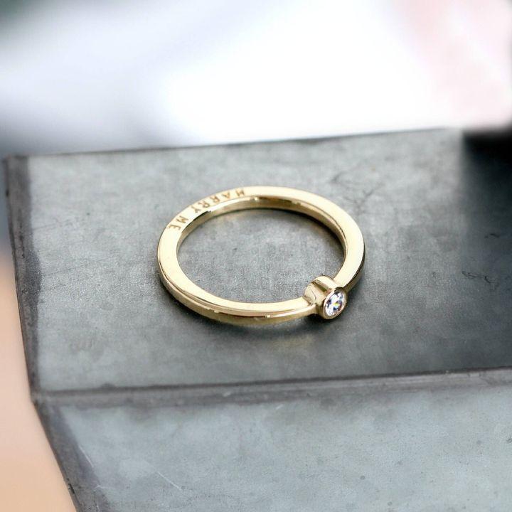 Personalised 9ct Gold Diamond Engagement Ring, Etsy