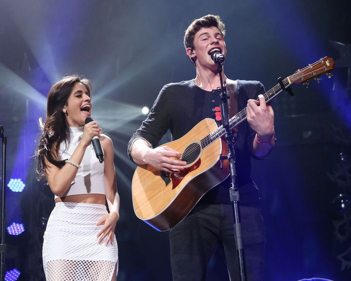 Camila Cabello and Shawn Mendes performing together in 2015.