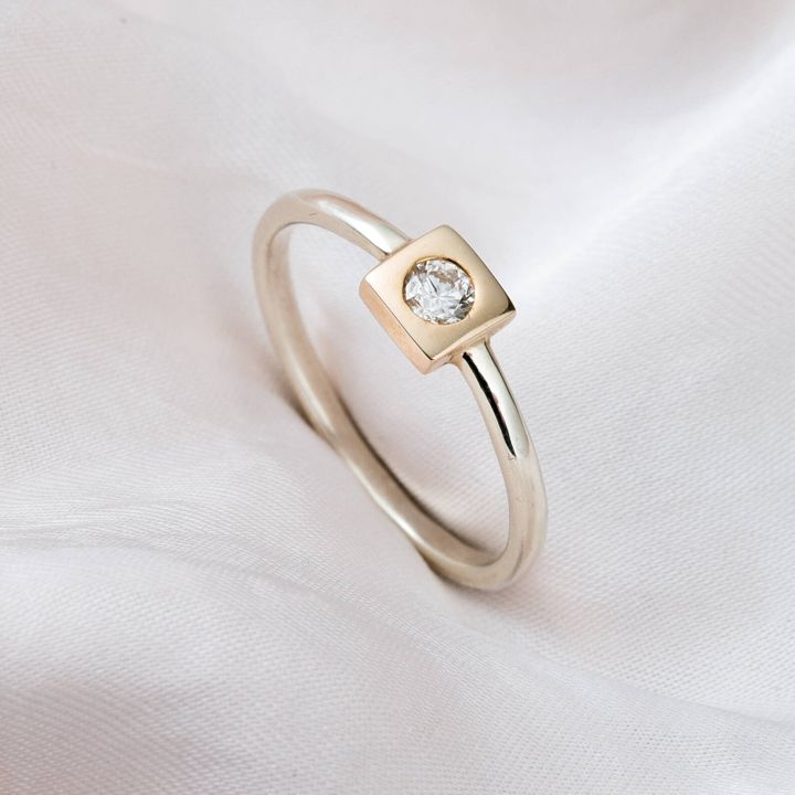 9ct Mixed Gold Square Diamond Engagement Ring, Etsy