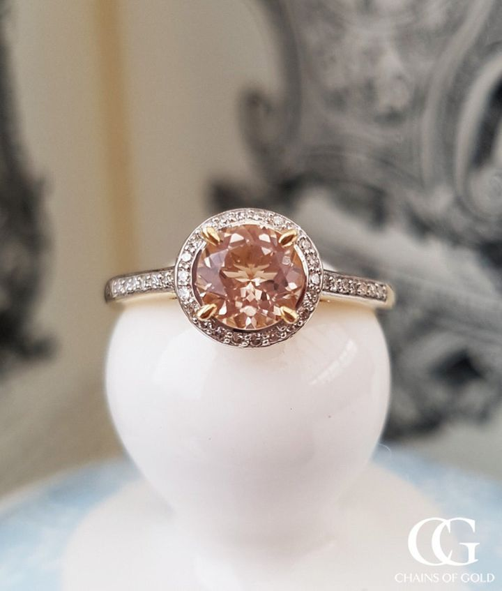 9ct Yellow Gold & Morganite Halo Ring with Diamonds, Etsy