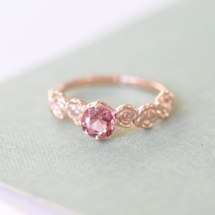 9ct Rose Gold Pink Peach Spinel Floral Alternative Engagement Ring, Etsy