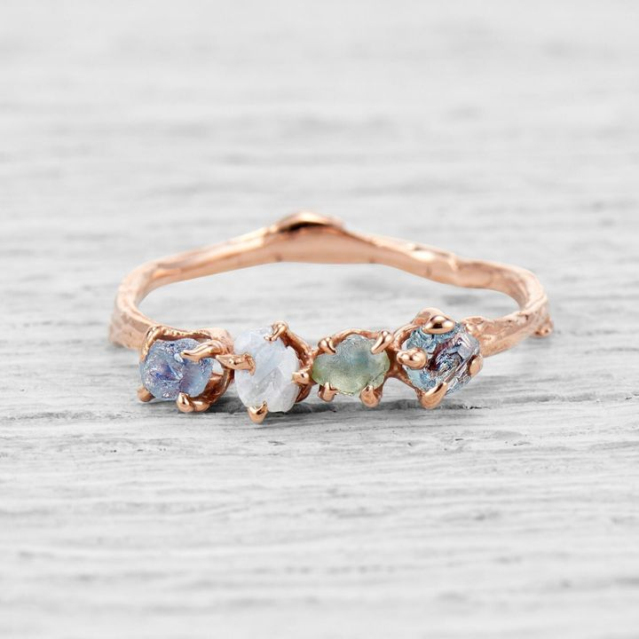 Garland Four Stone Ring with Rough Cut Montana Sapphires, Twig Engagement Ring, Etsy