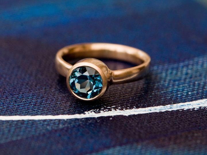 Blue Topaz Engagement Ring in 18K Gold, Etsy
