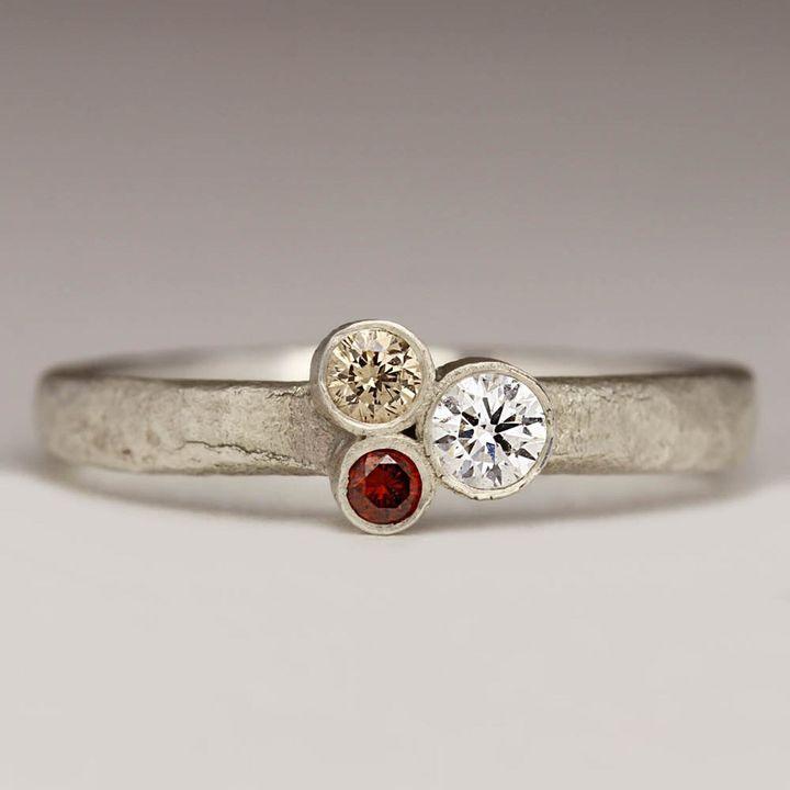 Three Diamond Silver Ring, Etsy
