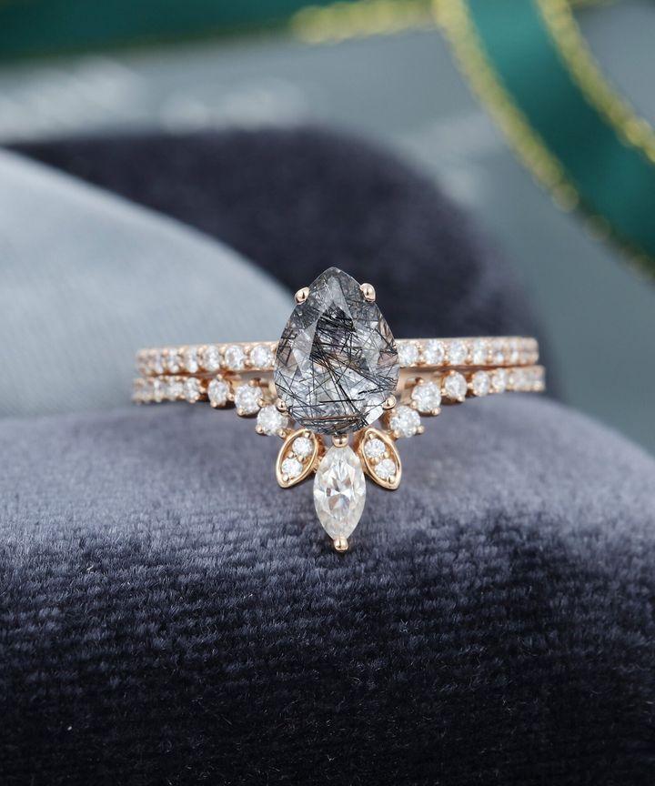 Pear shaped Black Quartz Rutilated Engagement Ring Vintage, Etsy