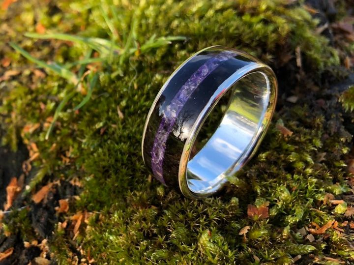 Sterling Silver & Ebony Bent Wood Ring With Amethyst Inlay