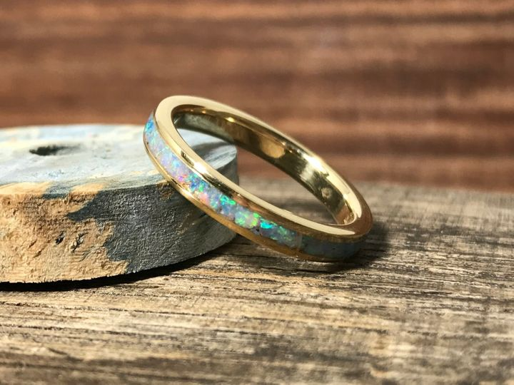 Yellow Gold and Opal Ring, Etsy