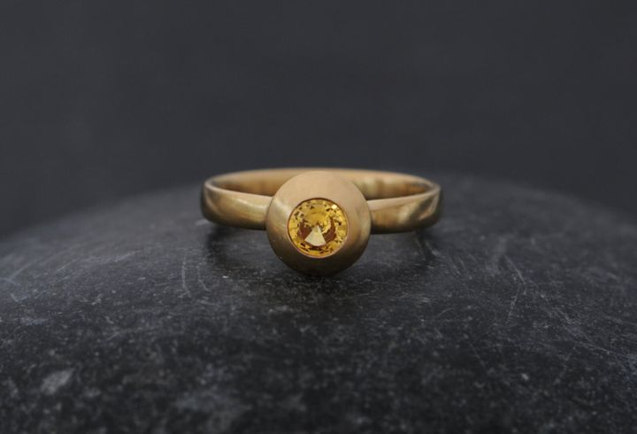 Yellow Sapphire 18k Gold Engagement Ring, Etsy