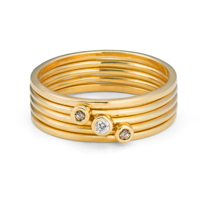 Stack of Five 9ct Yellow Gold & Champagne and White Diamond, Ethical Skinny Rings, Etsy
