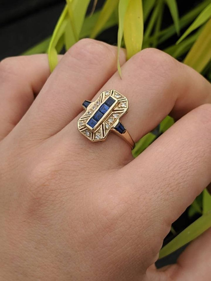 Stunning Art Deco Styled Vintage Sapphire and Diamond Ring, Etsy