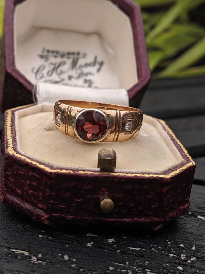 Vintage Garnet and Diamond Accent Ring, Etsy