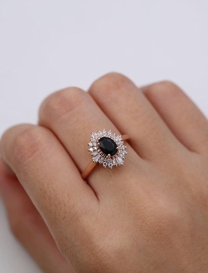 Oval Cut Black Onyx Engagement Ring, Etsy