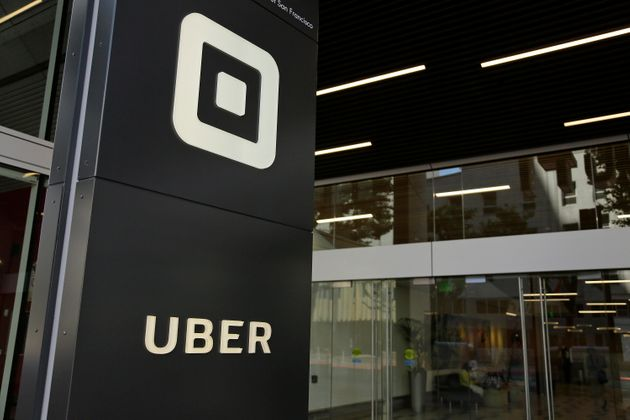A sign outside Uber's headquarters in San Francisco is seen here on June 21, 2017. Uber says over a two-year...