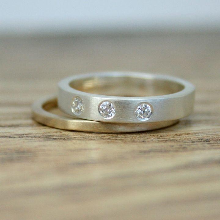 Triple Diamond Ring, Etsy