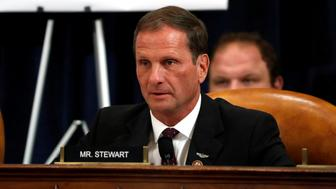 Rep. Chris Stewart, R-Utah, questions Ambassador Kurt Volker, former special envoy to Ukraine, and Tim Morrison, a former official at the National Security Council, as they testify before the House Intelligence Committee on Capitol Hill in Washington, Tuesday, Nov. 19, 2019, during a public impeachment hearing of President Donald Trump's efforts to tie U.S. aid for Ukraine to investigations of his political opponents.  Jacquelyn Martin/Pool via REUTERS