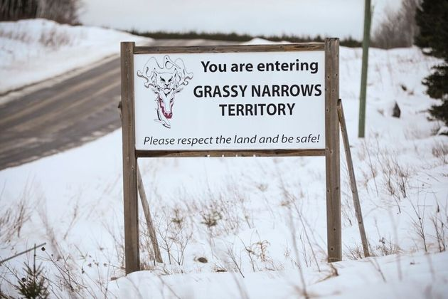A sign for the Grassy Narrows First Nation is seen here in northern Ontario in November 2017. Toxic material...
