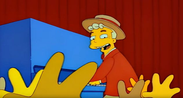Lyle Lanley leads the residents of Springfield in The Monorail