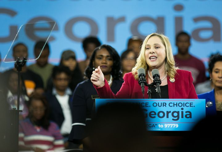 Sarah Riggs Amico addresses the crowd at a campaign rally at Morehouse College in November 2018, during her bid for Georgia l