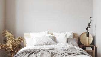 Scandinavian bedroom close up, wall mock up, 3d render