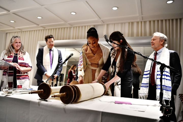 Tiffany Haddish's bat mitzvah ceremony included readings from the Torah.