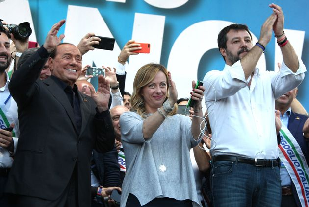 ROME ITALY OCTOBER 19 2019: (From L) Leader of Italy's liberal-conservative party Forza Italia, Silvio...
