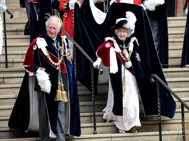Prince Charles and Queen Elizabeth leave the Order of the Garter Service at Windsor Castle on June 17.
