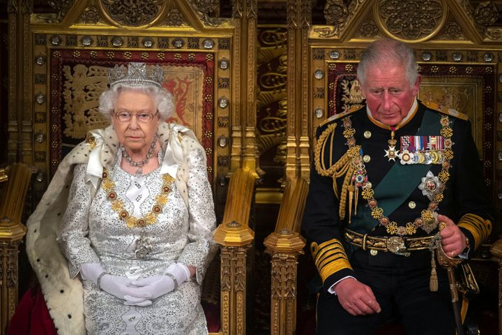 The queen and Charles at the opening of Parliament at the Palace of Westminster in London in October.