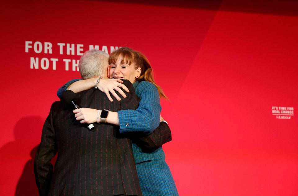 Angela Rayner embraces Jeremy Corbyn at a rally in