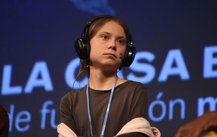 Climate change activist Greta Thunberg speaks at a press conference on Friday.