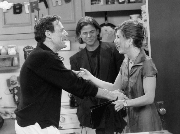 Ron on the set of Friends with his on-screen daughter, Jennifer