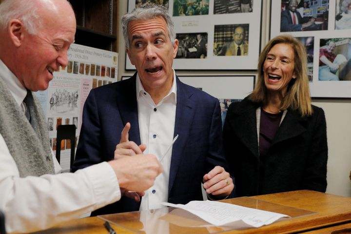 Walsh, with his wife Helene at his side, files paperwork to appear on the first-in-the-nation primary ballot in Concord, New
