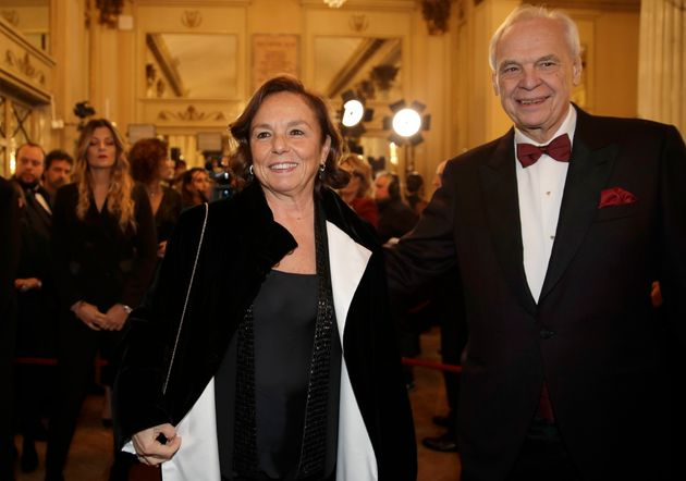 La Scala general manager Alexander Pereira, right, welcomes Italian Interior Minister Luciana Lamorgese...