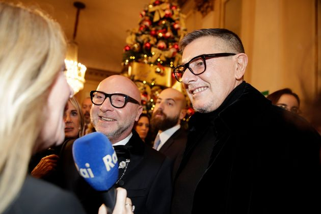 Italian designer Domenico Dolce, left, and Stefano Gabbana arrive for the gala premiere of La Scala opera...
