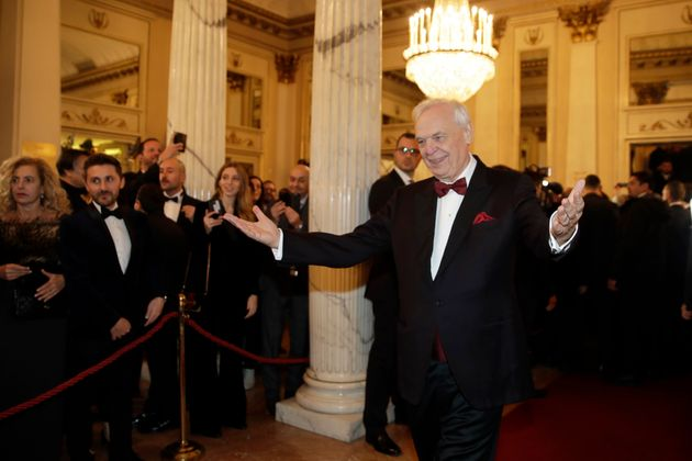 La Scala general manager Alexander Pereira gestures in the foyer for the gala premiere of La Scala opera...
