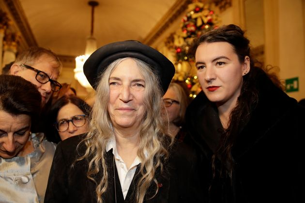 Musician Patti Smith arrives with her daughter Jesse Smith, right, for the gala premiere of La Scala...