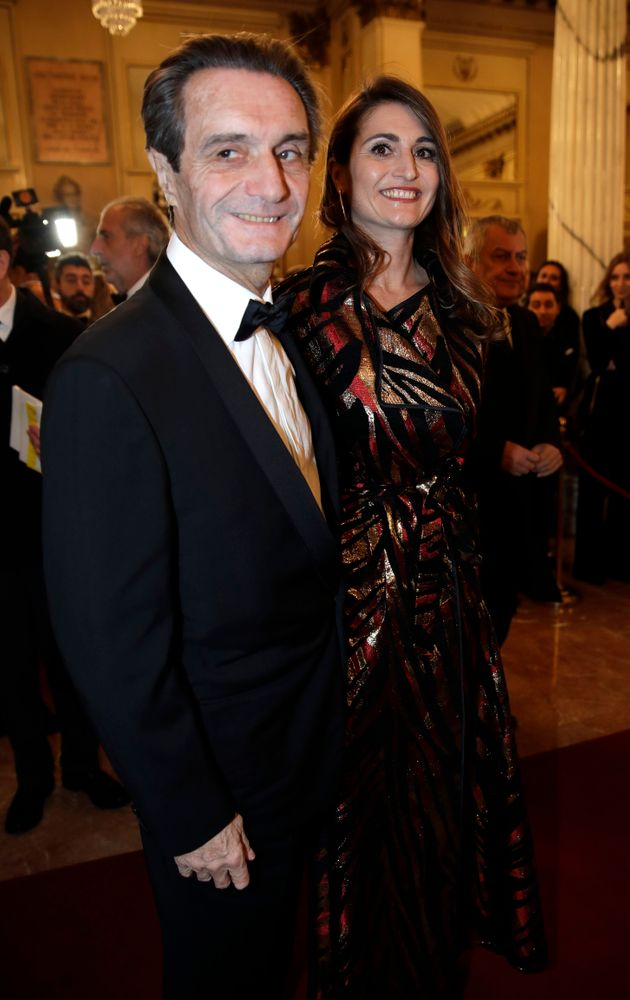 Lombardy region president Attilio Fontana arrives daughter Maria Cristina flanked by his for the gala...