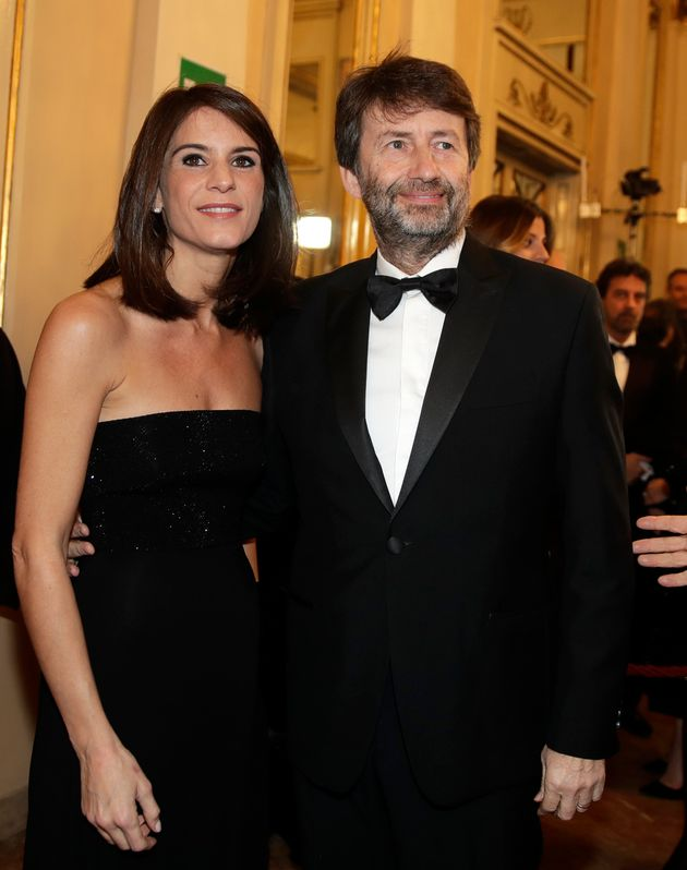 Italian Culture Minister Dario Franceschini and his wife Michela Di Biase arrive for the gala premiere...