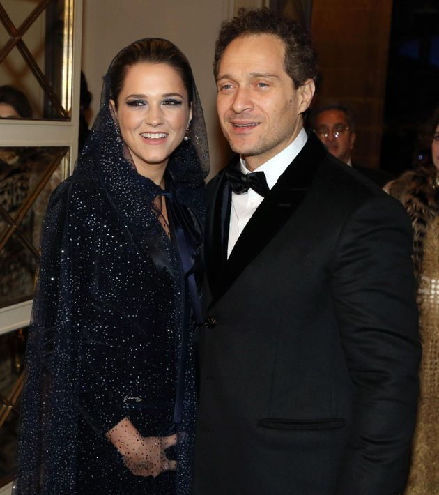 Italian actor Claudio Santamaria and his wife Francesca Barra arrives for La Scala opera house's gala...