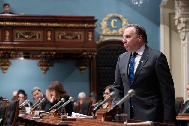 Le premier ministre du Québec, François Legault, répond à l'opposition pendant la période des questions,...