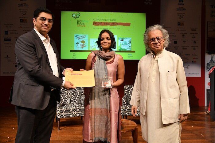 Priya Kuriyan receives the Big Little Book Award for best children's illustrator at the Tata Literature Live festival in Mumbai.