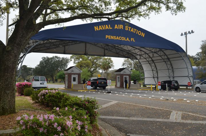 All international students at the Pensacola base, pictured, have been accounted for, there have been no arrests, and the comm